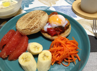 Ratatouille muffin sandwich with soft boiled egg