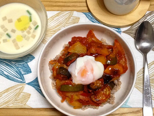 Ratatouille with soft boiled egg DON - rice bowl dish