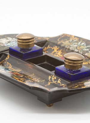 Product photography Victorian papier-mache inkstand by Jennes and Bettridge of Belgravia Northern Ireland