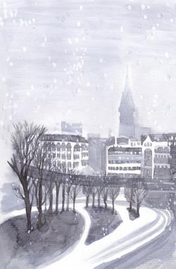 Hamburg・雪の日のニコライ教会