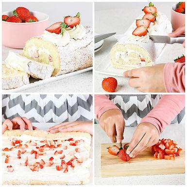 Brazo gitano relleno de fresas con crema
