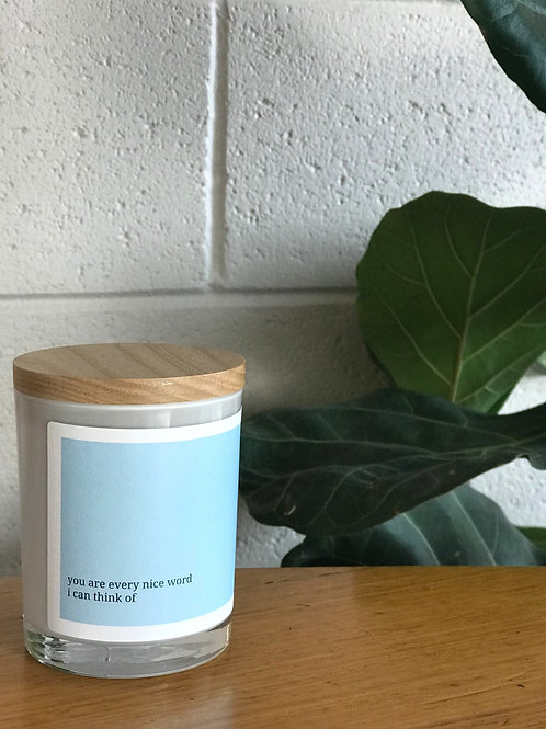 Soulful Quote Candle - Every nice word I can think of