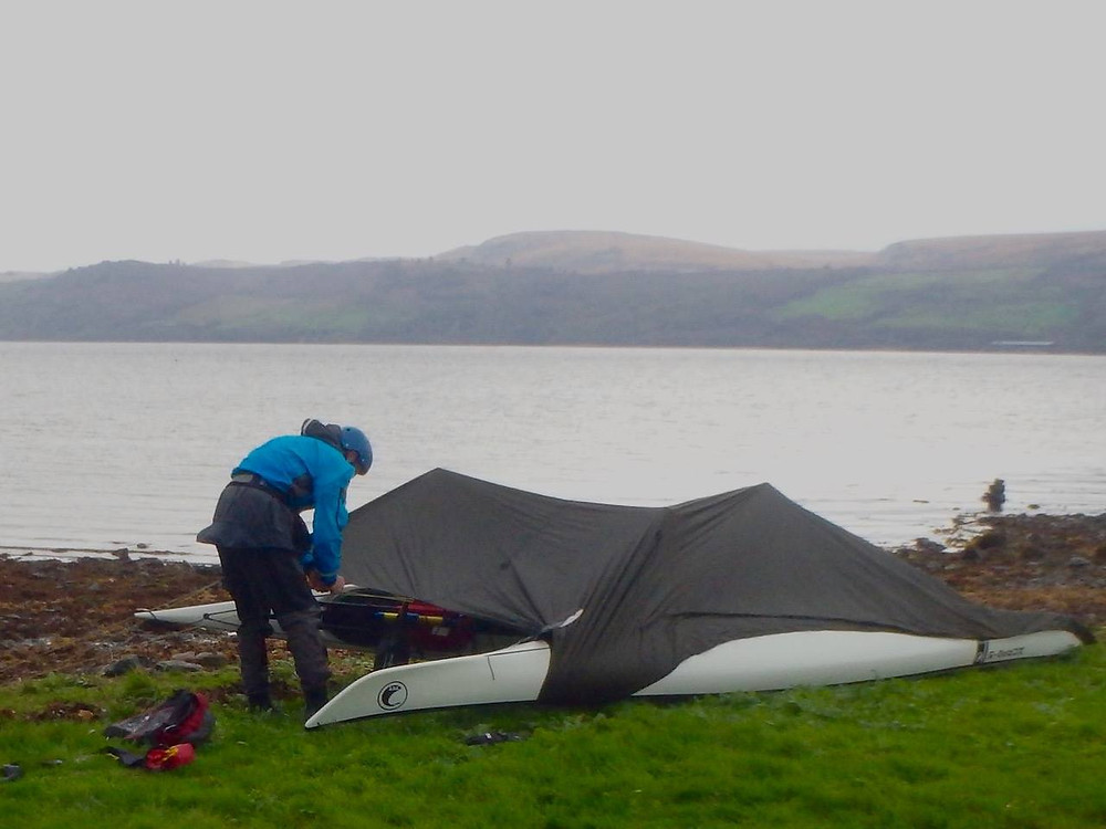 Sea kayak emergency shelter building