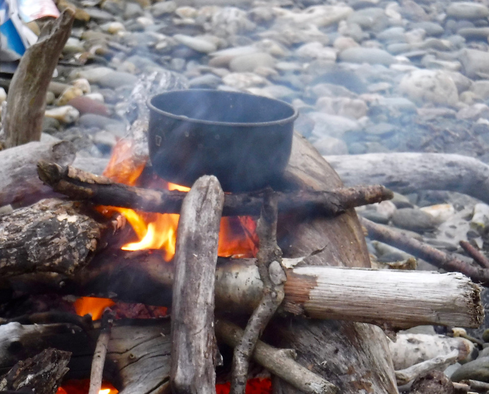 Traditional cooking on an open fire