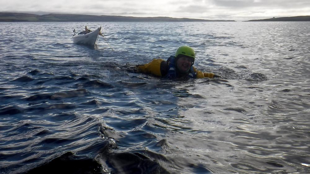 Rocky landing - swim tow to the shore