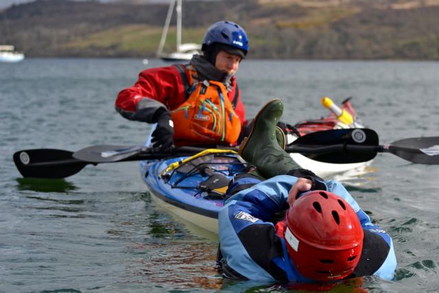 Detailed sea kayak rescue practise