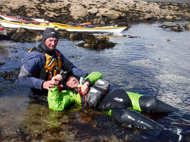 Would you know what to do next?  Injured casualty in the sea.