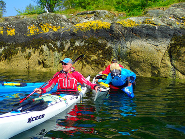 Sea kayak repair practise