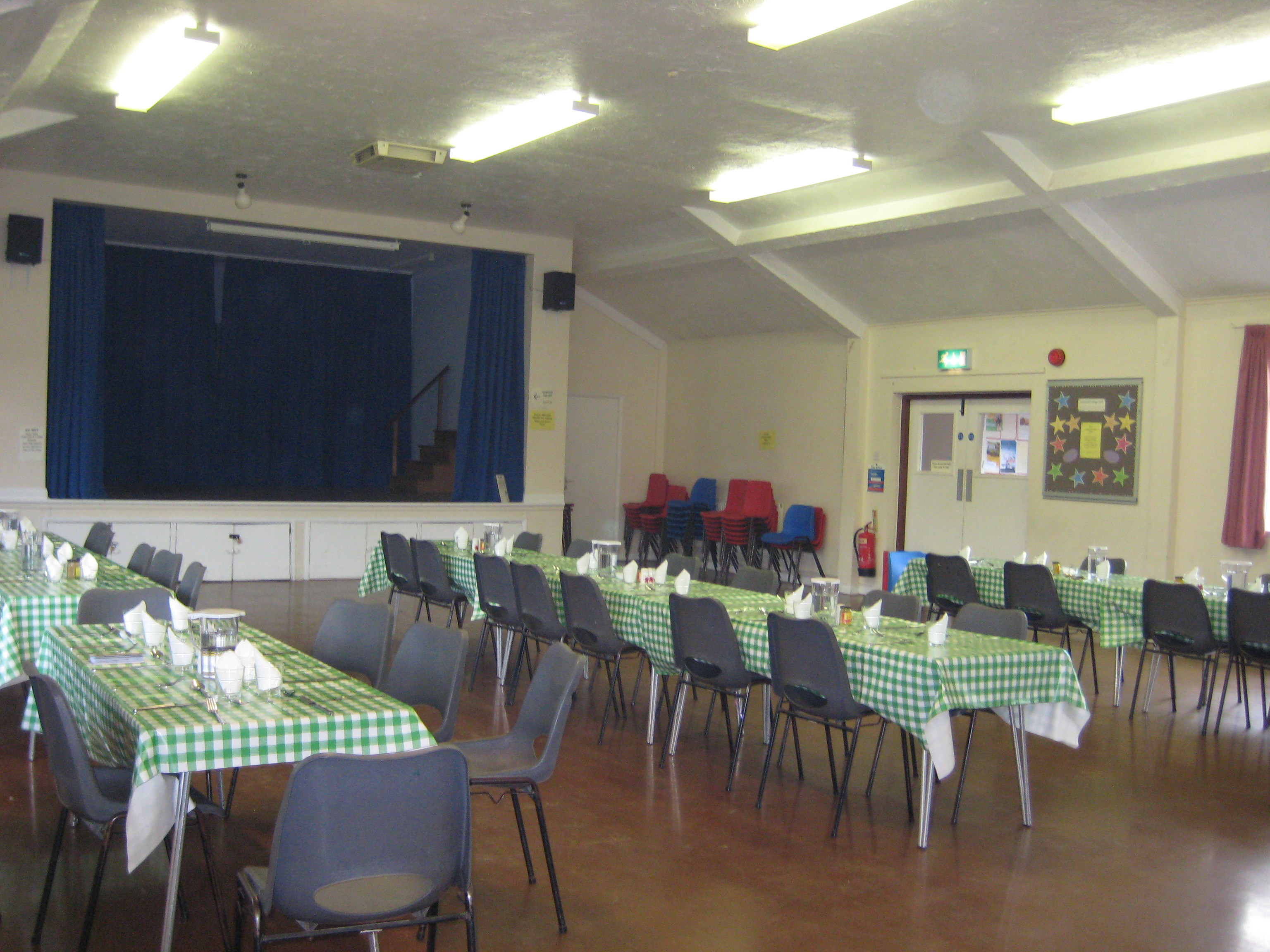 Main hall set up for lunch club