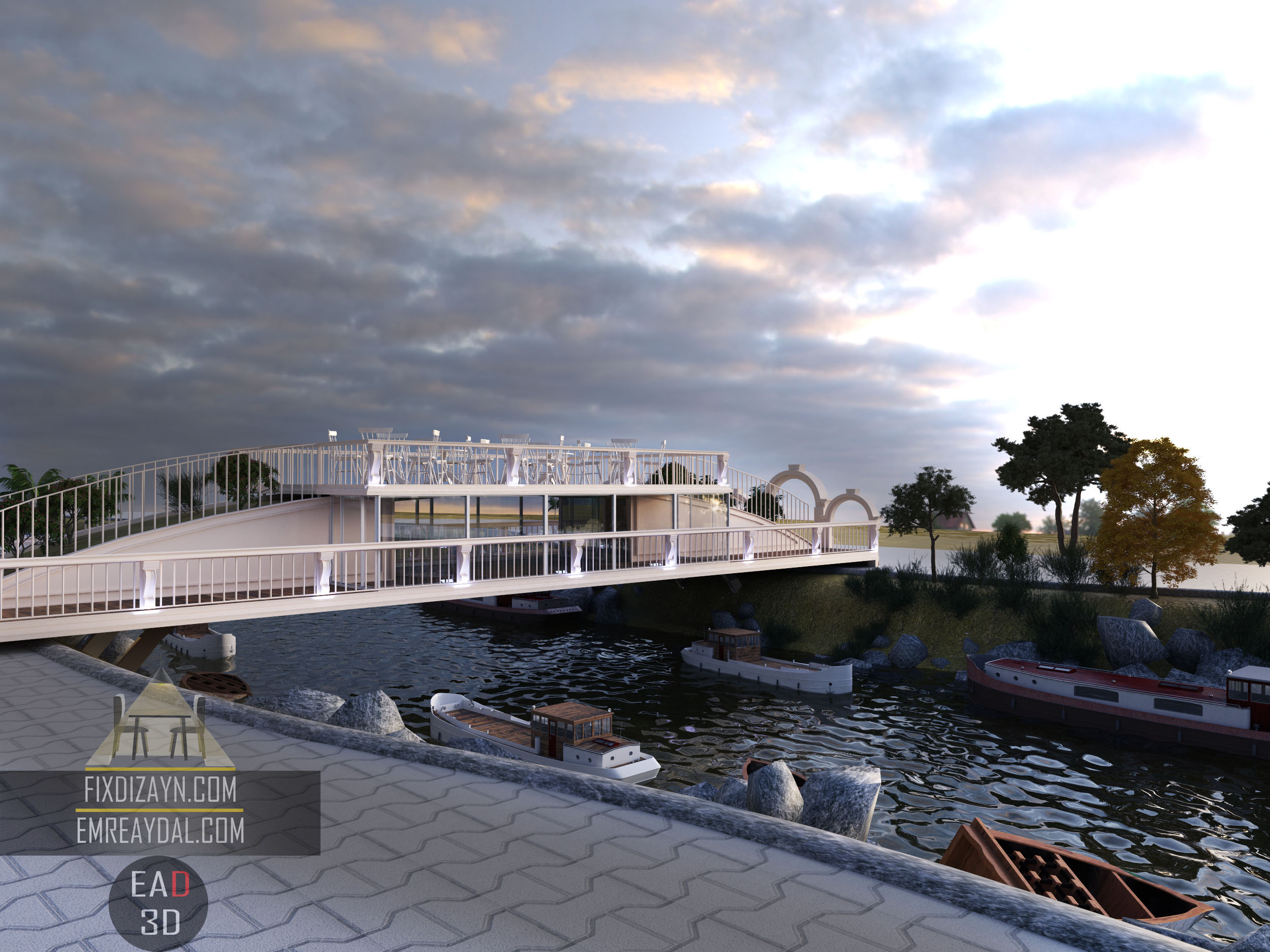 Köprü Restaurant Tasarımı, 3d render
