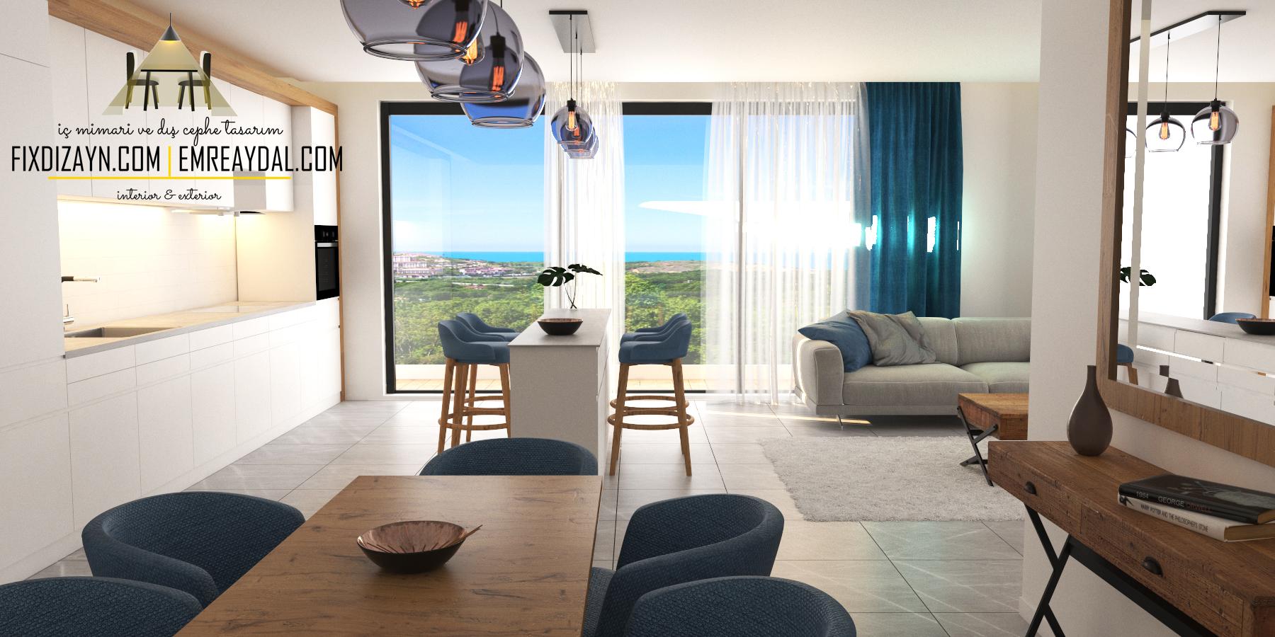 Montenegro örnek daire iç mimari tas