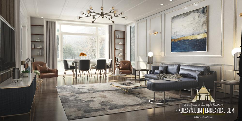 villa istanbul salon iç mimari render