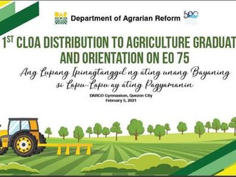 DAR has identified 44 graduates of agri-related courses from the provinces of Cagayan and Palawan
