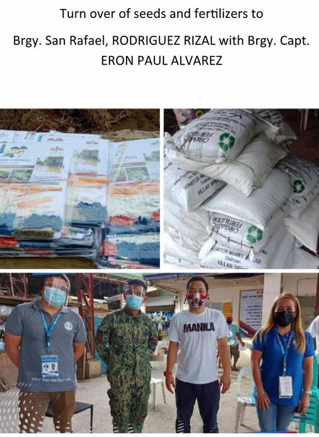 Turnover of Seeds and Fertilizer to Brgy. San Rafael, Rodriguez Rizal