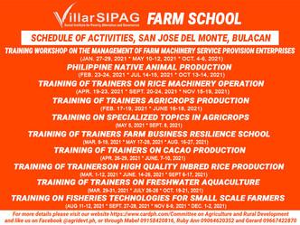 2021 Schedule for Villar SIPAG Farm School in San Jose Del Monte City, Bulacan