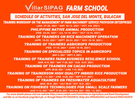 2021 Schedule for Villar SIPAG Farm School in San Jose Del Monte City, Bulacan