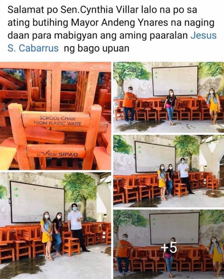 Sen Cynthia Villar donated recycled plastic chairs to Jesus S Cabarrus Elem. School in Antipolo City