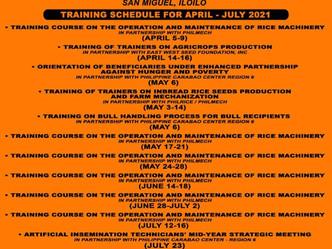 Training Schedule in Villar Sipag Farm School San Miguel, Iloilo