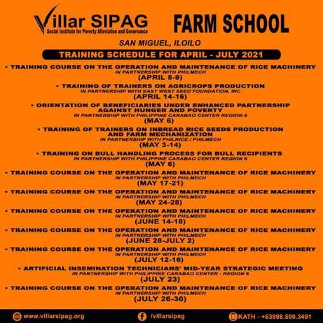 Training Schedule in Villar Sipag Farm School San Miguel, Iloilo