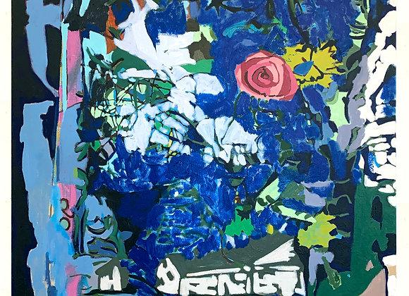 Artist: Kris Benedict, Title: Blue Landscape with Rose