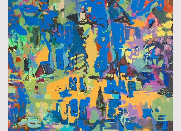 Artist: Kris Benedict, Title: Street Scene with Blue Windows
