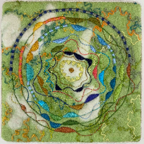 Artist: Teresa Shields, Title: Green with Stitched Circles