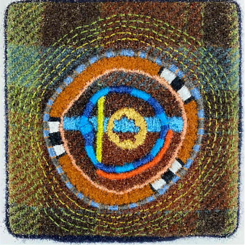 Artist: Teresa Shields, Title: Plaid Over Dyed Wool with Circles