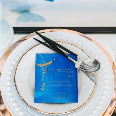 Join Us - Brushed blue + gold RSVP