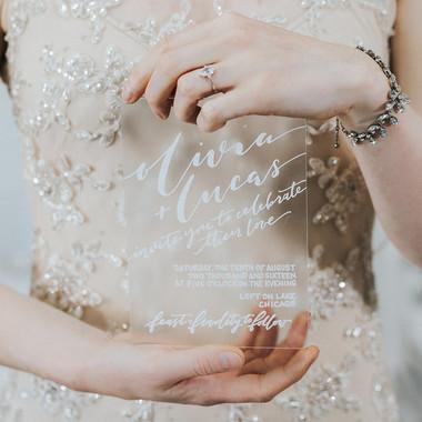 hand lettered, acrylic wedding invitation