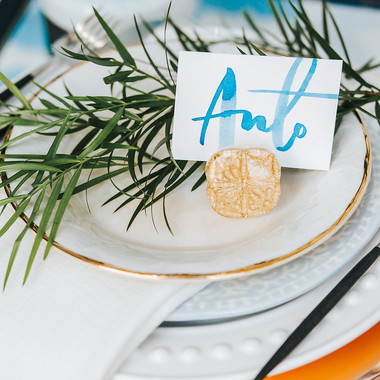 Hand lettered place setting