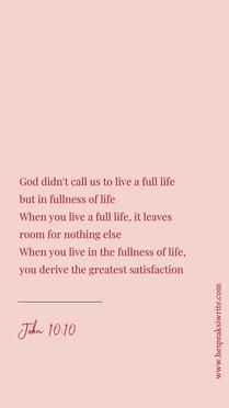 Fullness of life