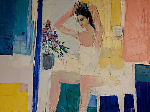 Woman and bouquet