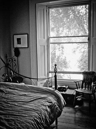 Sun shining through victorian apartment window
