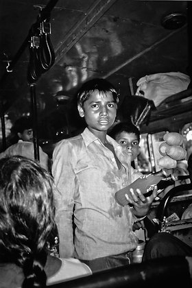 Movie star street hawker - bus, Delhi to Ladach India