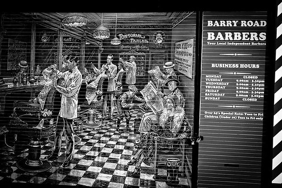 Back street barber shop front