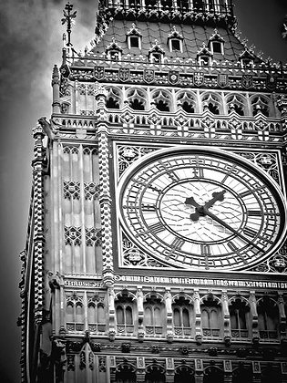 Arches & windows under THE clock - Big Ben