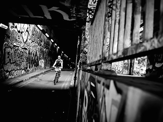 Cycling through the 'Banksy' Tunnel - Waterloo