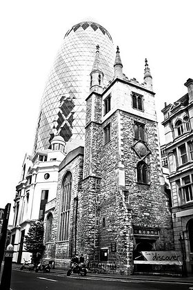 Gerkin & Old church - opposite the Lloyds Building