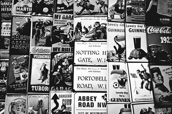Montage of vintage tin prints - Portobello Mkt