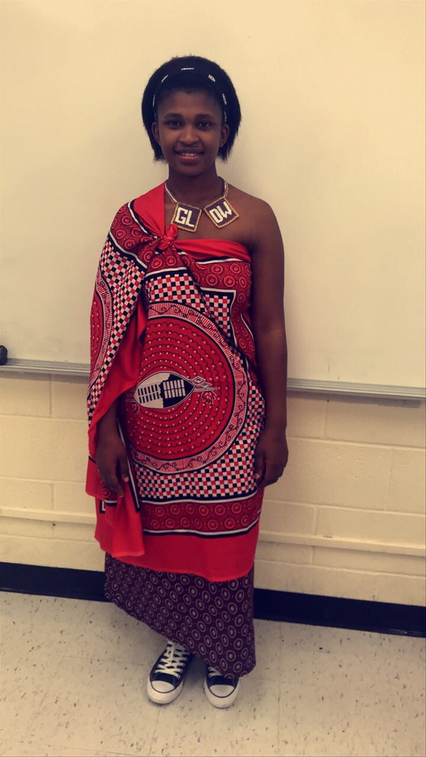 Phelele in traditional attire for a presentation on Swazi culture