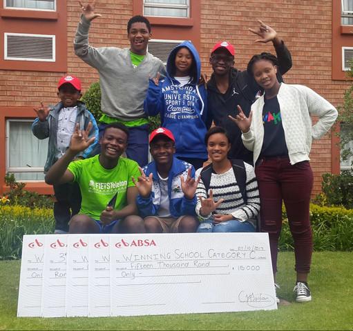 Bongani, Mbeketeli and their classmates celebrate their victories at Zwakala
