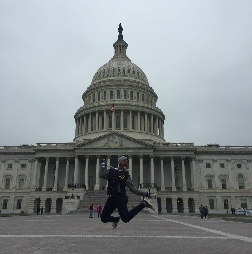 Phelele springing to action at the Capitol building in Washington, DC