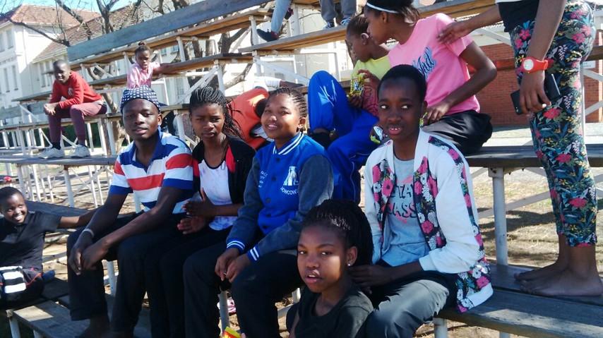 Bongani, Tandzile, Siphesihle, Zinhle and Siyanda enjoy field day at school