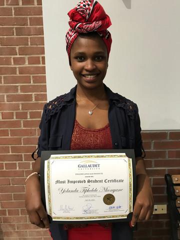 Phelele proud to show-off her academic award