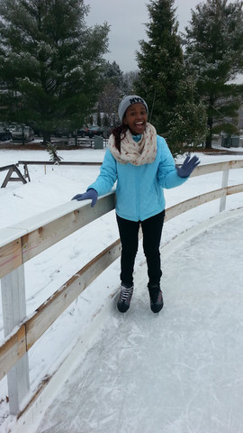 Phelele taking a spin around an ice skating rink in New Hampshire