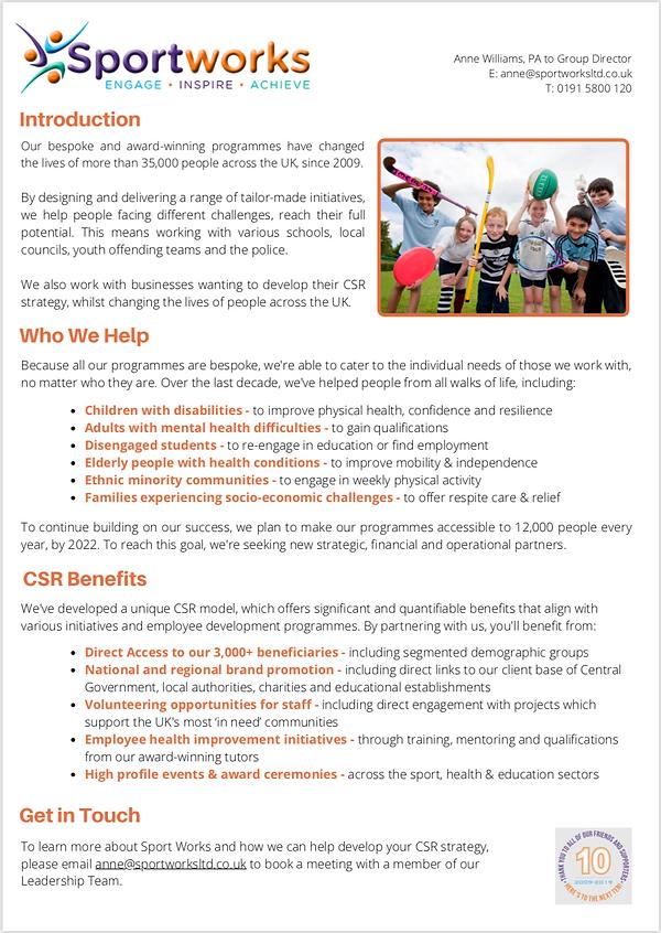 Sport Works | CSR Opportunities | Screen