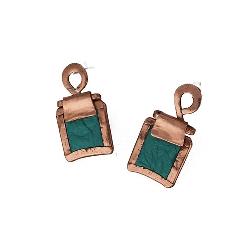 Soft turquoise leather square shaped copper earrings