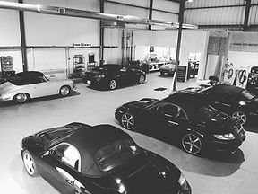 Studio A shop with Porsches