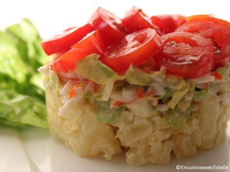 Émietté de crabe, salade de pommes de terre tièdes en vinaigrette