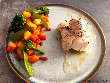 Dos de cabillaud aux petits légumes
